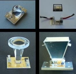 Distintos diseños de SOE montados sobre células MJ